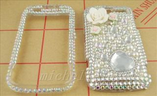 3D FLOWER RHINESTONE BLING FULL COVER CASE FOR HTC MyTouch 4G HM14