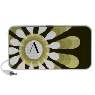 Floral Monogram Portable Mini Travel Speakers