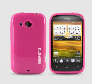 Soft Silicone TPU Cover Skin Case HTC A320E Desire C LCD Guard