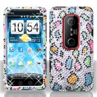 Rainbow Leopard Bling Hard Case Phone Cover HTC EVO 3D