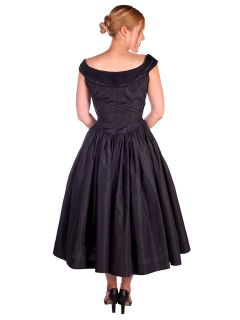 Vintage Dress 1950s Midnight Blue Silk Taffeta by Rudolf Full Skirt 38