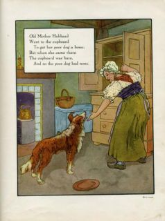 Old Mother Hubbard Mother GOOSE Rhyme Print 1921