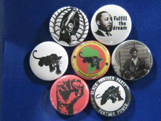 Black Panthers MLK POWER1 Button Badge Huey P Newton
