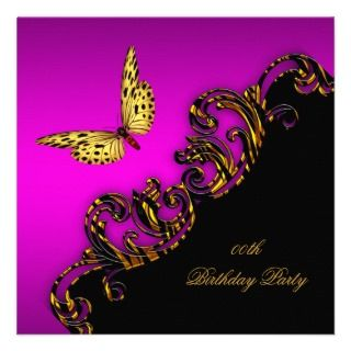 Exotic Pink Gold Black Butterfly Birthday Party invitations by Zizzago