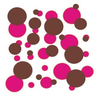 set of 106 Hot Pink and Chocolate Brown polka dots Vinyl