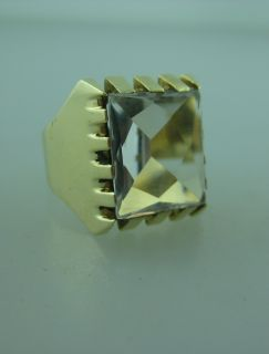 14k Yellow Gold Mens Large Clear Stone Ring Size 10