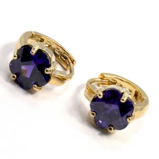 Gold 18K GF Earrings Hoop Huggie Purple Crystal Flower Lady Teens