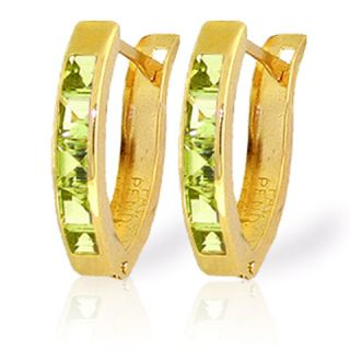 GAT 14k Solid Gold Oval Huggie Earring with Natural Peridots
