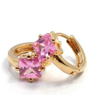 Gold 18K GF Earrings Hoop Huggie Pink Austrian Crystal 10mm Lady Teens