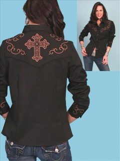 PL 739 Scully Western Cowgirl Shirt XXL Studded Cross Black