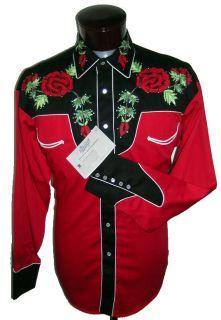 6805BI Rose Rhinestone Rockmount Embroidered Western Cowboy Shirt L