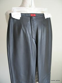 Hugo Hugo Boss Black Lambskin Leather Straight Leg Slack Dress Pant Sz