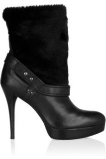 Stuart Weitzman Furensic leather and faux fur ankle boots