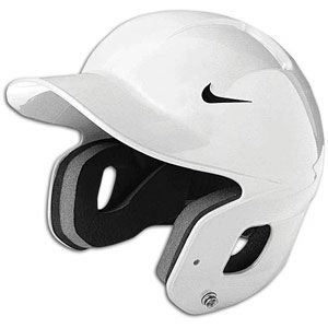 white c flap baseball helmet