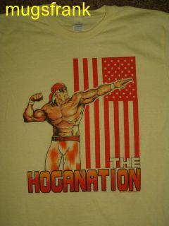 Hulk Hogan Hulkamania Hoganation USA Flag Wrestling T Shirt