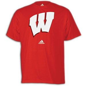 adidas College Logo T Shirt   Mens   Wisconsin   University Red