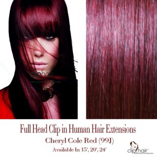 20 Clip in Human Hair Extensions 99J Burgundy Deep Vine Red