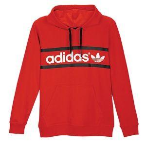 adidas Originals Heritage Logo Pullover Hoodie   Mens   Scarlet/White