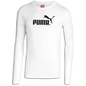 PUMA #1 Logo Long Sleeve T Shirt   Mens   Casual   Clothing   White