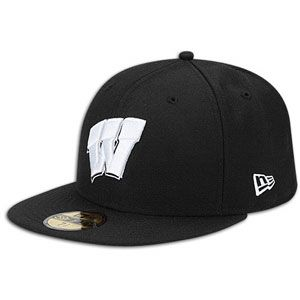 New Era 59Fifty College Black & White Cap   Mens   Wisconsin   Black