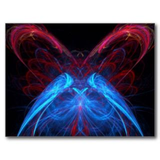 Little Blue Butterfly on Pink with Hearts Postcard