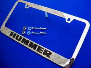 HUMMER H1 H2 H3 CHROMED METAL LICENSE PLATE FRAME WITH HUMMER LOGO