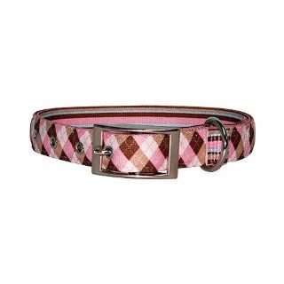 Yellow Dog Design Uptown Collar, Large, Pink/Brown Argyle