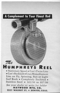 Original 1950 Vintage Ad The Humphreys Fishing Reel Haywood Mfg Denver