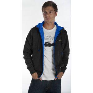 Lacoste Lacoste Full Zip Double Fleece Hoodie   Mens   Black/Blue
