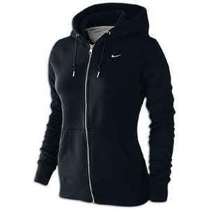 Nike Classic Fleece Swoosh Full Zip Hoodie   Womens   Black/White