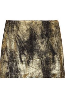 Clemens en August Metallic silk crepe mini skirt