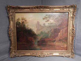 Romantic Oil on Panel Painting Castle Woods after Richard Wilson