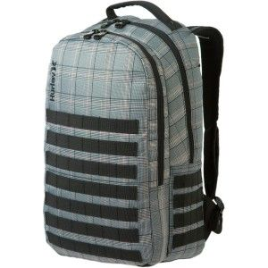 Hurley Oxford Gray Plaid Laptop Backpack Book Bag New