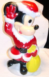 Vintage Outdoor Molded Plastic Mickey Mouse Santa Christmas Light Up