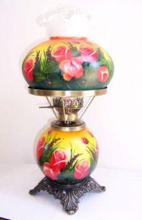 Rose Flowers Hurricane Table Lamp 16 New