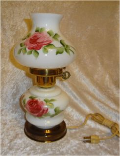 Painted Red Rose Globe Hurricane Table Lamp Milk Glass Chipped