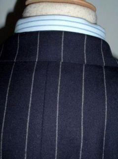 Huntsman England Navy Blue Chalk Stripe Wool Sportcoat Jacket 40 42