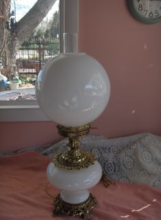 WMC Milk White Glass 2 Globe Hurricane Table Lamp Brass Nice