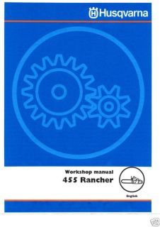 Husqvarna 455 Rancher Chain Saw Service Manual Owners Manual Parts