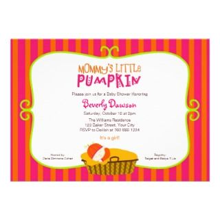 Pink and Orange Mommys Little Pumpkin Baby Shower Personalized