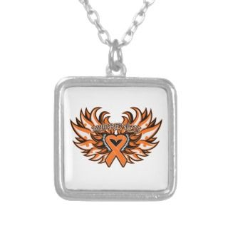 Multiple Sclerosis Awareness Heart Wings Personalized Necklace