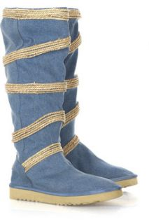 Mou Seagrass Circled tall denim boots   70% Off