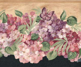 Die Cut Beautiful Purple Lavender Hydrangeas Butterflys Wallpaper