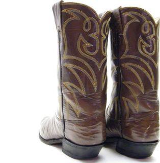 Mens Hyer Vtg Brown Real Sharkskin Shark Skin Cowboy Western Boots Sz