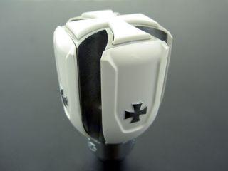 Universal Car Gear Shift Knob White Iron Cross Shifter Lever Stick