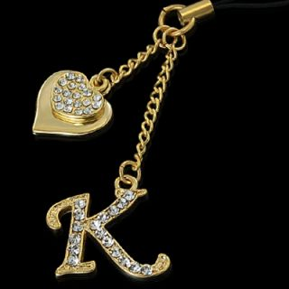 Initial K Letter Heart Crystal Gold Cell Phone Strap
