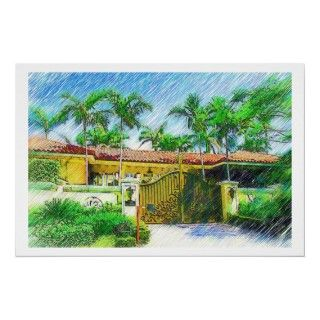 Palms & LandscapeSelection of color pencil drawing prints.Miami Beach