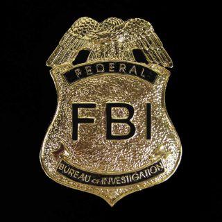 Police Cop Metal Badge with Pin CSI FBI Costume Antique Gold