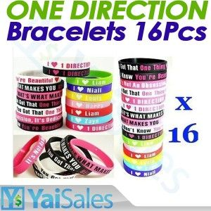 16pcs I Love One Direction 1D Fan Rubber Wristbands Silicone Bracelets