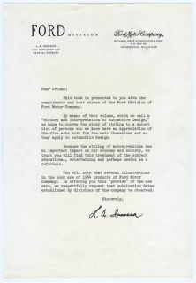 Ford Book of Styling Lee Iacocca Signed Letter Ford Motor Company